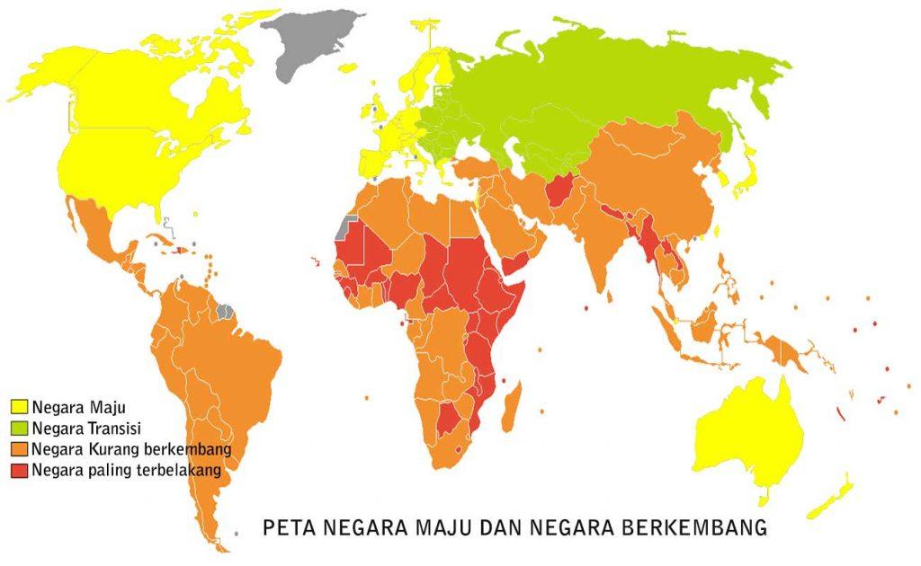 Peta Negara Maju dan Negara Berkembang di Dunia