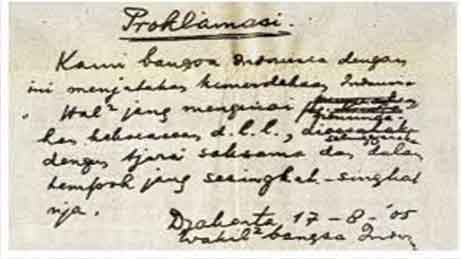 Naskah Proklamasi Asli Pada Saat Itu (17 Agustus 1945) yang dibaca oleh Sukarno