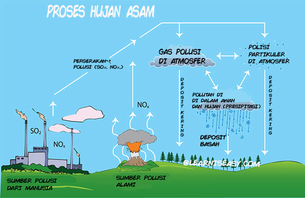 Diagram proses hujan asam.