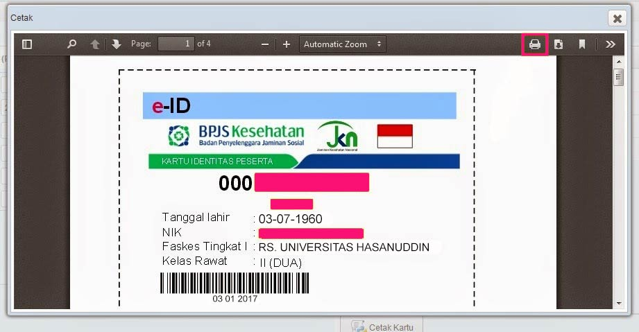 Form cetak print kartu BPJS OnlineForm cetak print kartu BPJS Online