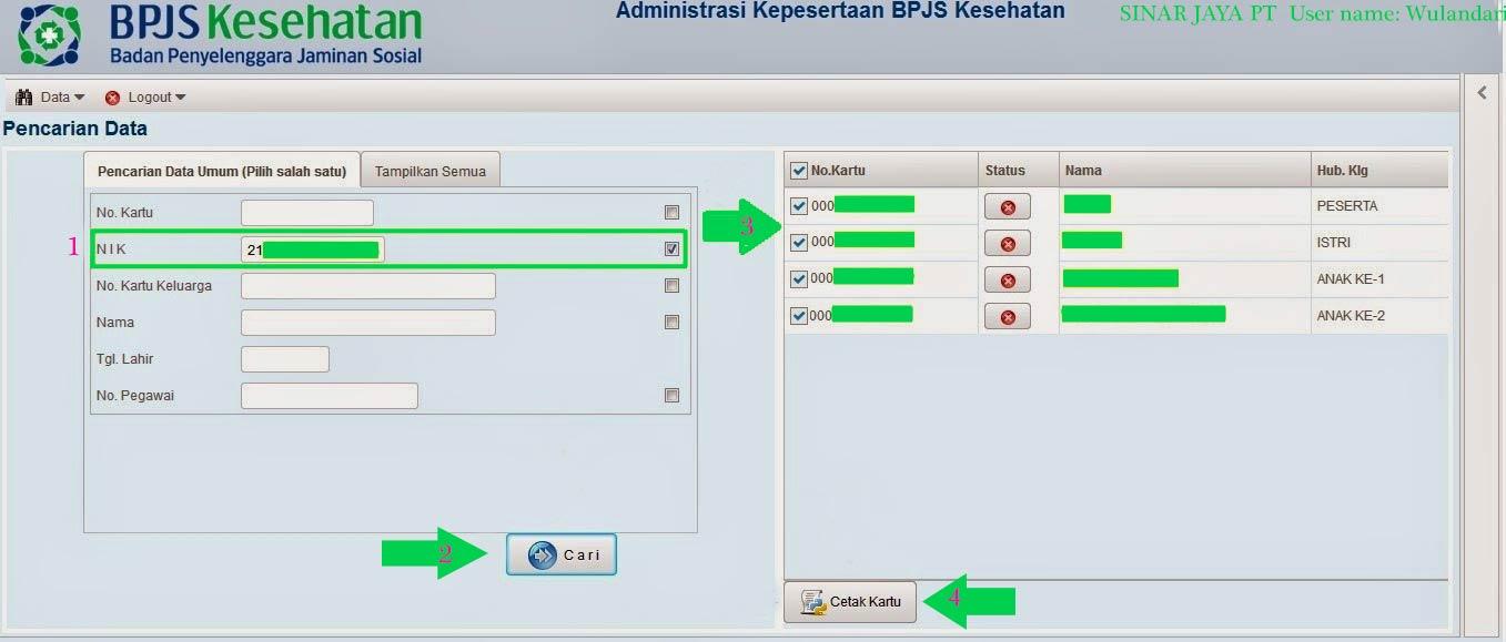 form pencarian data - cek dan cetak kartu BPJS kesehatan online