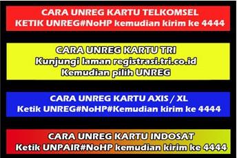 Cara unreg kartu telkomsel XL Indosat Tri axis smartfren