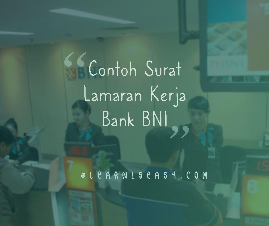 contoh surat lamaran kerja Bank BNI
