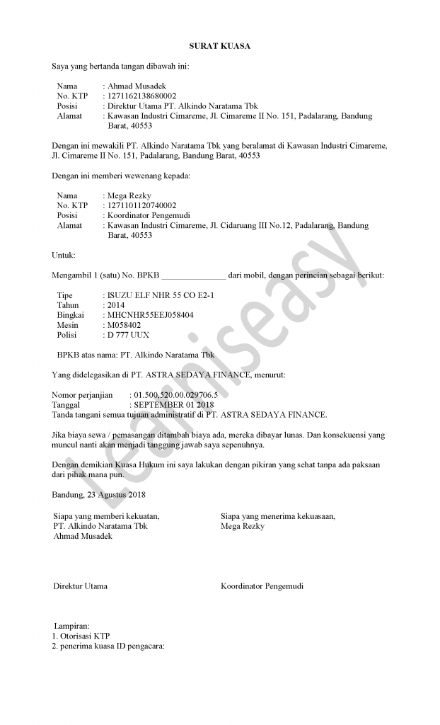contoh surat kuasa BPKB