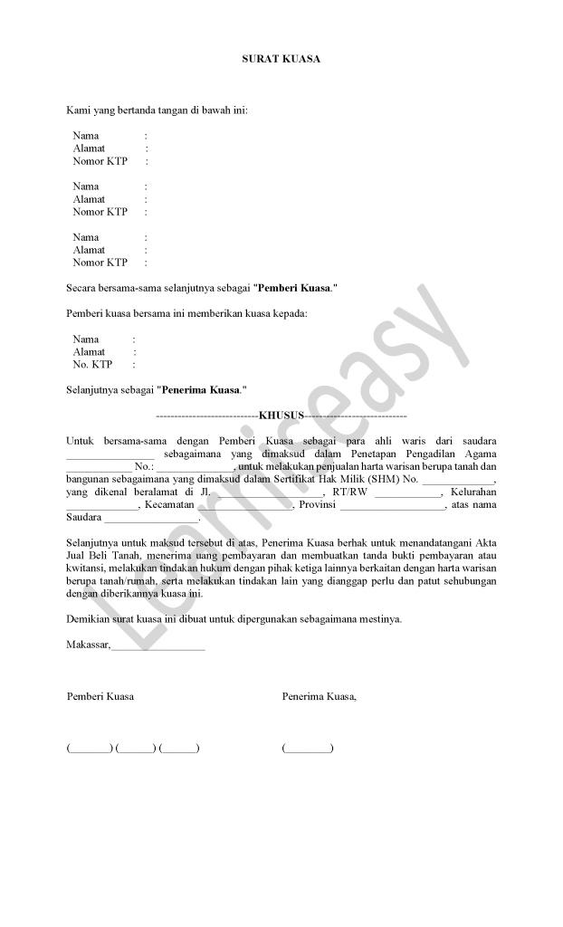 contoh surat kuasa ahli waris tanah