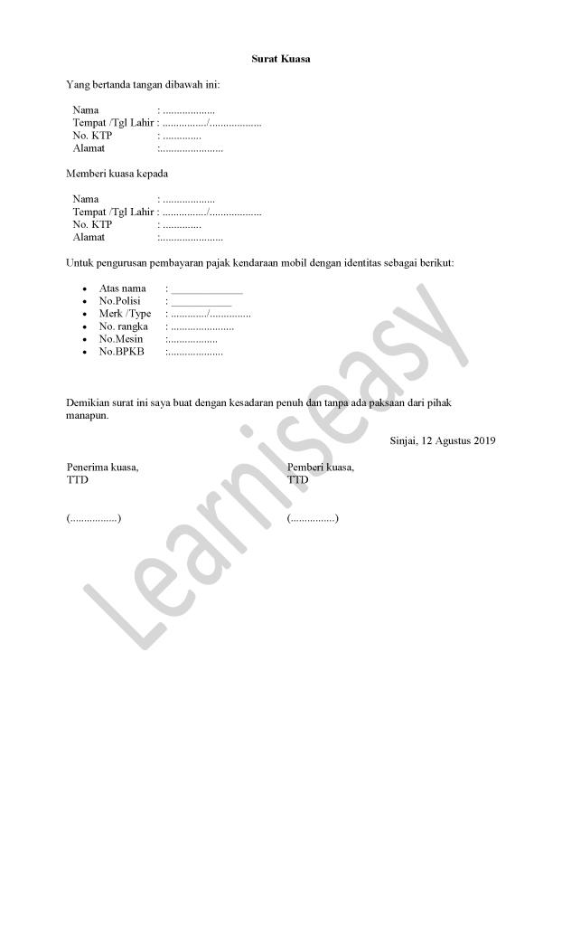contoh surat kuasa pembayaran pajak mobil
