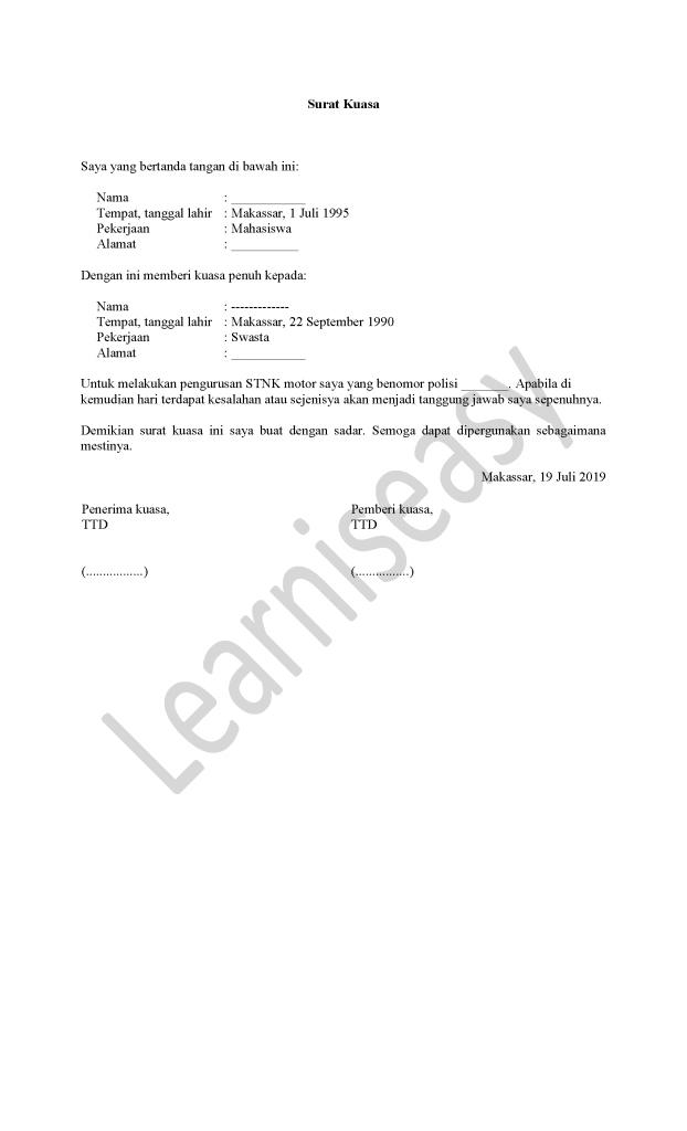 contoh surat kuasa STNK