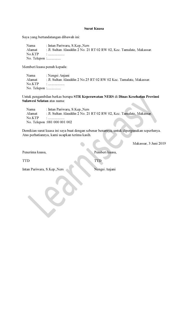 Contoh surat kuasa pengambilan STR NERS