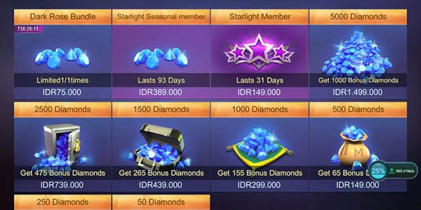 Harga diamond di game mobile legend