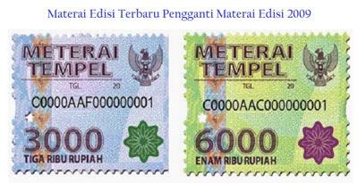 contoh meterai tempel Rp3000 dan Rp6000